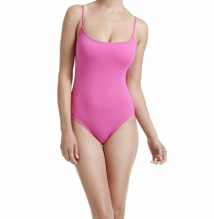 Anne Cole One Piece Sz 8 Solid Pink Swimsuit Maillot Tank Swimwear 14MO001