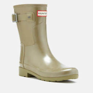 98b50082a Image is loading Hunter-Womens-Refined-Short-Gloss-Wellies-Wellington-Boots-