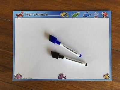 A4 Funky Fish Things to Remember Flexible Fridge Magnetic Whiteboard Memo +2Pen