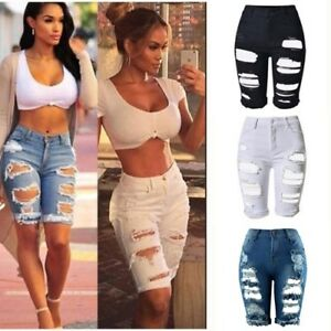 AU-Womens-Ripped-High-Waisted-Stretchy-Denim-Jeans-Shorts-Casual-Party-Hot-Pants