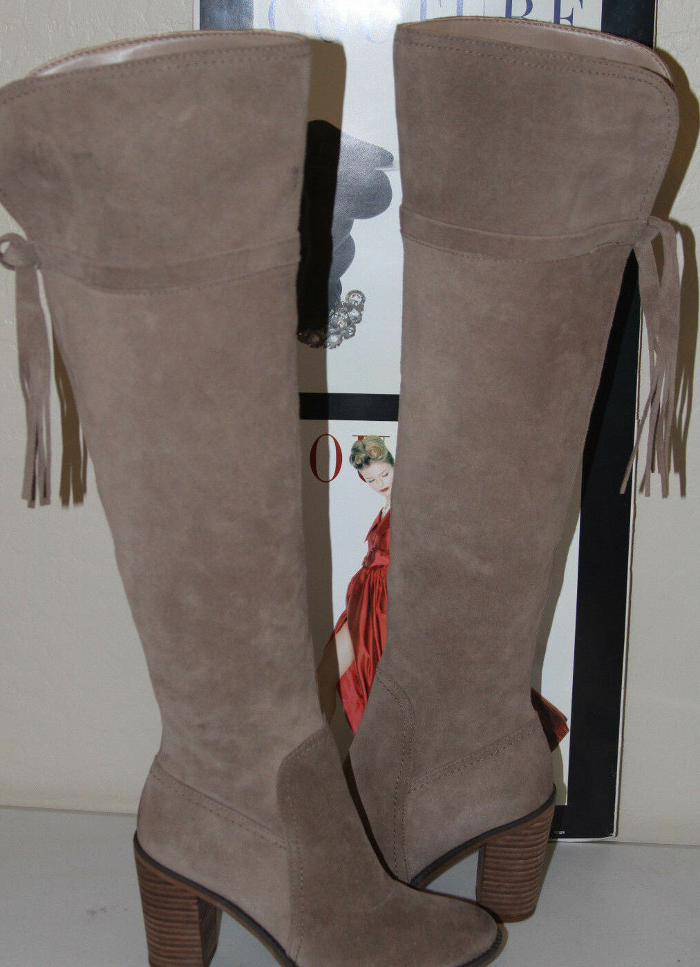 76  FRANCO SARTO ELLYN TAUPE SUEDE OVER THE KNEE BOOTS  SZ 6.5   MSRP 225