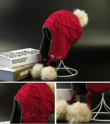 Family Mother/&Me Knitted Wool Hat Faux Fur Ball Hat Baby Kids Winter Warm Cap