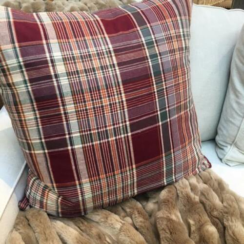 "POTTERY BARN Kingston Plaid 24/"" Pillow Cover NEW Multi Colors Rustic Farmhouse"