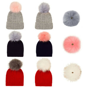 62f86d31d Details about Nifty Childrens Detachable Faux Fur Pom Pom Chunky Knit  Designer Kids Beanie Hat