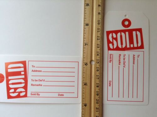 100 1000 Red and White Sold Tags with Center Slit Merchandise Price Tag 50