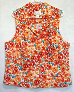 C-J-Banks-Stretch-Plus-Size-X-14W-Sleeveless-Floral-Button-Front-Top-Blouse