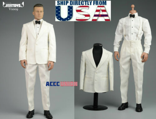 "1//6 Vintage Gentleman Tuxedo Suit Set B For Brad Pitt 12/"" Hot Toys Figure U.S.A."