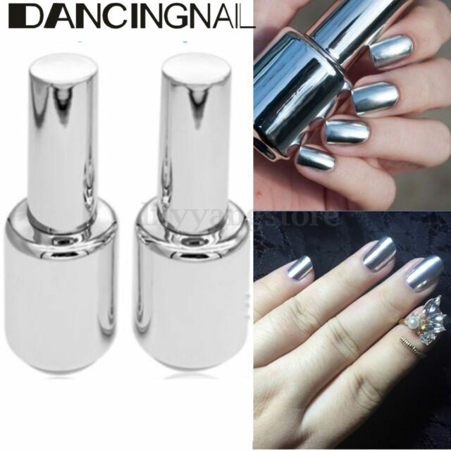2Pcs 15ML Metallic Mirror Effect Metal Silver Nail Polish Varnish &15ML Top Coat