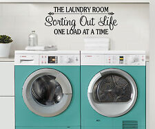 LAUNDRY ROOM SORTING OUT LIFE ONE LOAD AT A TIME WALL QUOTE DECAL VINYL DECOR