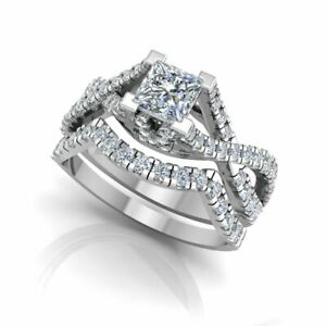 1.06 Ct Princess Real Moissanite Engagement Band Set Solid 18K White Gold Size 5