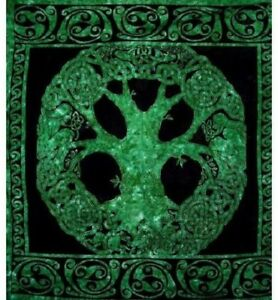 New-BIG-Emerald-Green-Celtic-Tree-of-Life-Tapestry-Wall-Decor-Hanging-Gift-60x90