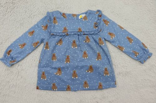 NEW Ex Baby Boden Girls Teddy Bear Stars Frilly Smock Top T-shirt Blue 0-3 month
