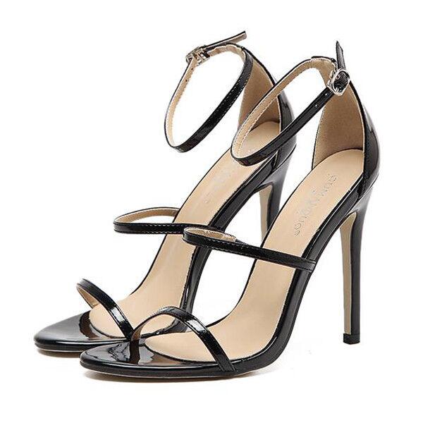 Sandale eleganti tacco stiletto 11 cm nero lucido simil pelle eleganti 9839