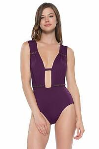 b44c4a4a714 Becca MERLOT Reconnect Plunge One-Piece Swimsuit, US Large ...