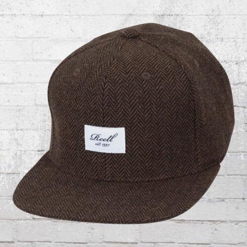 Reale Snapback Cap Tweed 6 Panel cappuccio Herringbone MARRONE BERRETTO cappa Basecap ha