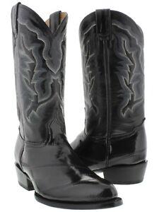 2af6c026301 Details about mens genuine EEL skin black leather western cowboy boots  rodeo riding dress