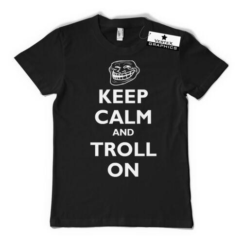 Gaming Gift Slogan Keep Calm and Troll On T-ShirtFunny