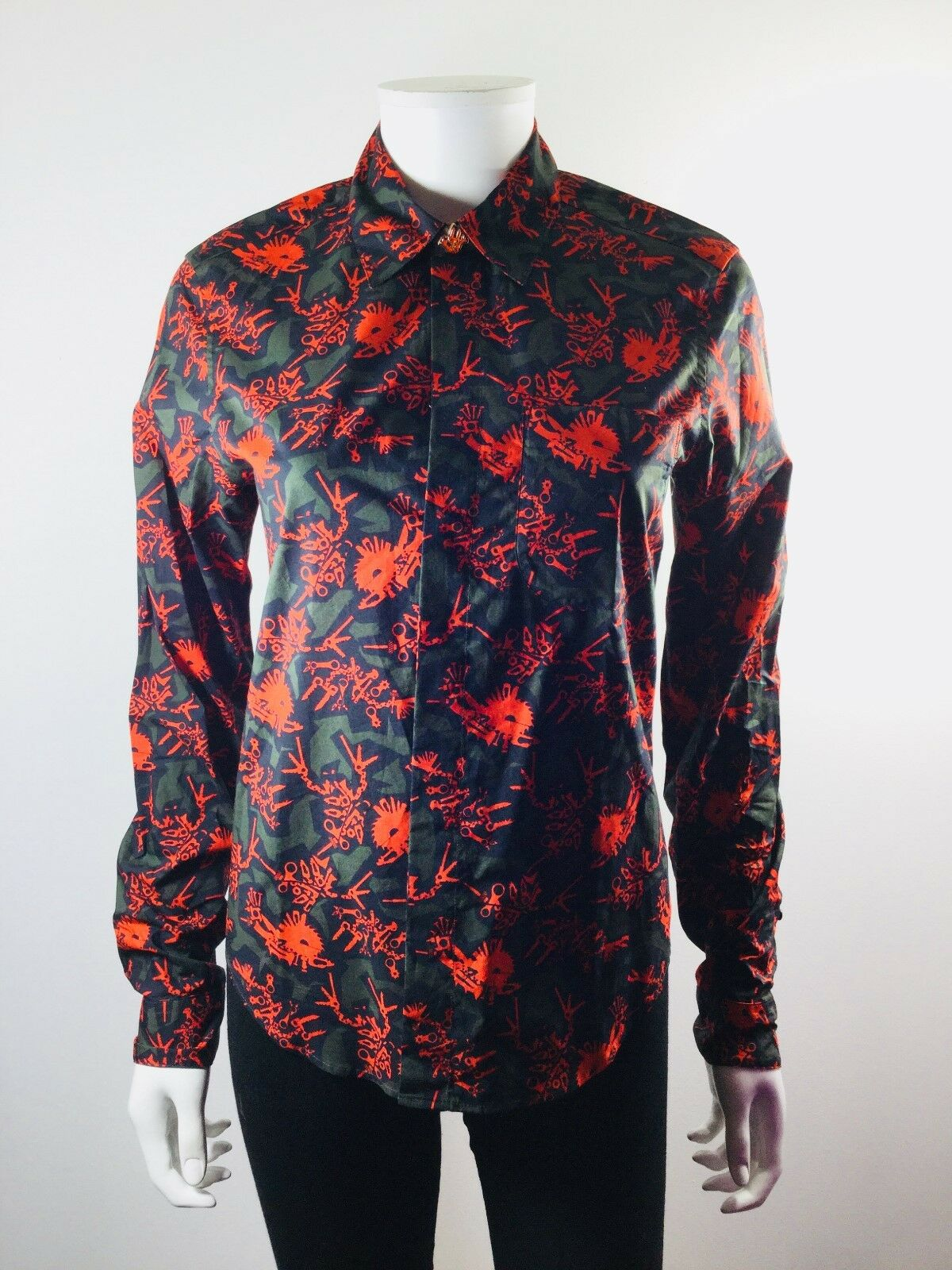 KENZO PARIS rot Multi Print Long Sleeve Button Down Blouse Größe 36