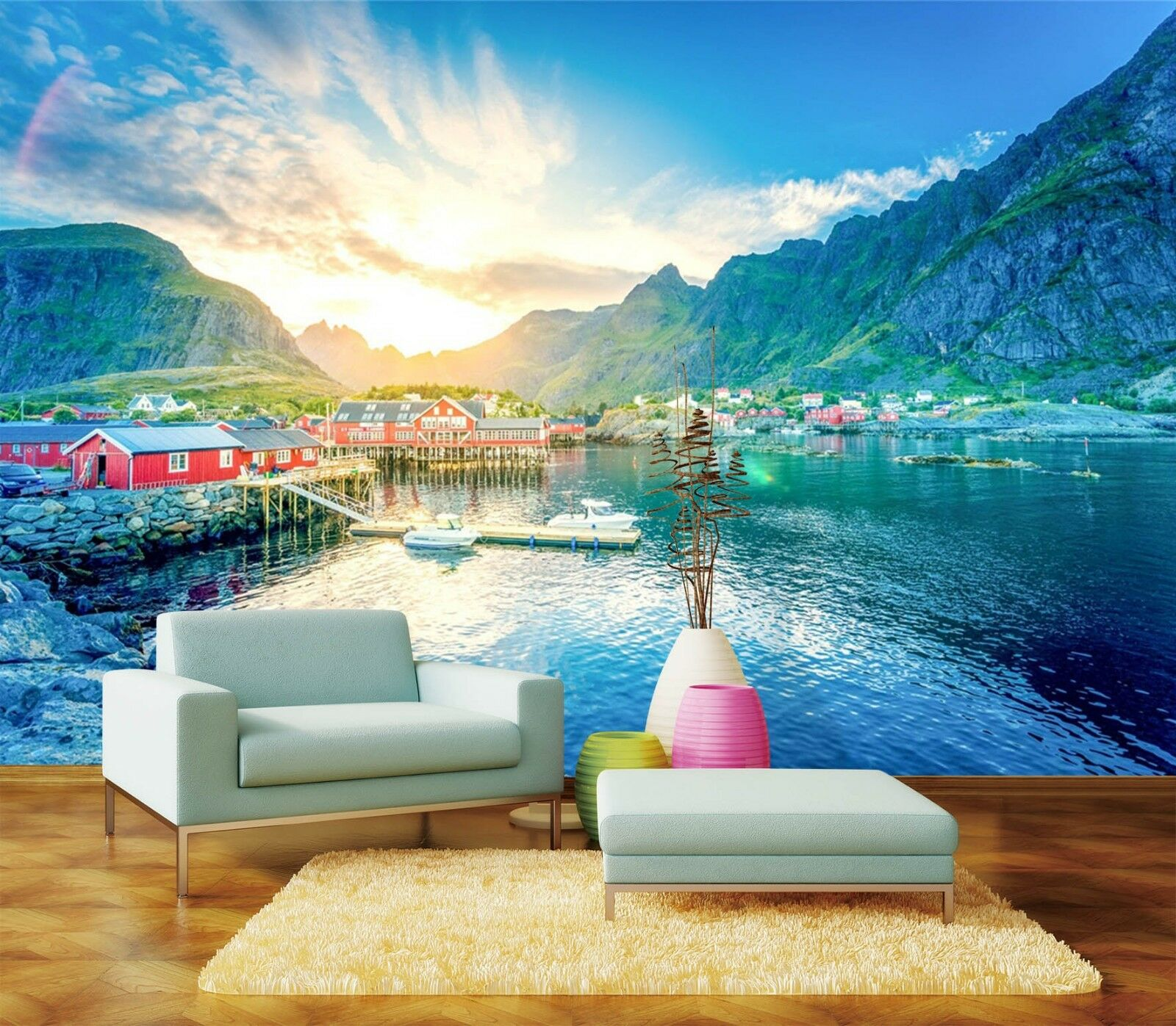 3D sunlight Lake water house Wall Paper Print Decal Wall Deco Indoor wall Mural