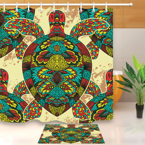 "Zentangle Turtle Home Waterproof Polyester Fabric Bath Shower Curtain Hooks 72/"""
