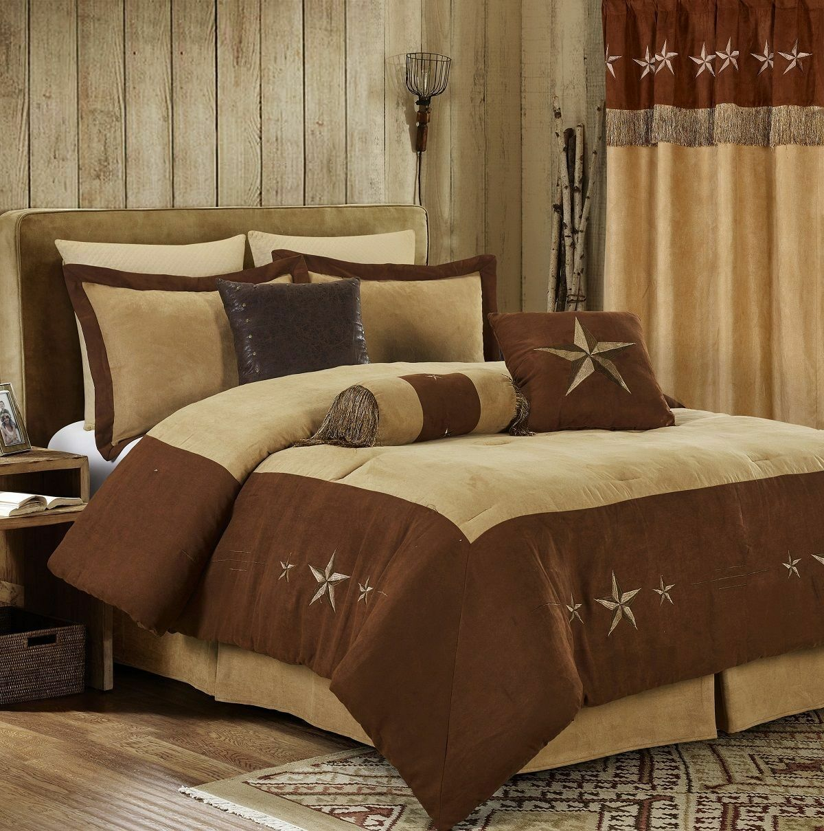 Rustic Brown Embroidery Texas Star Western Luxury Comforter Suede Leather 7 pcs