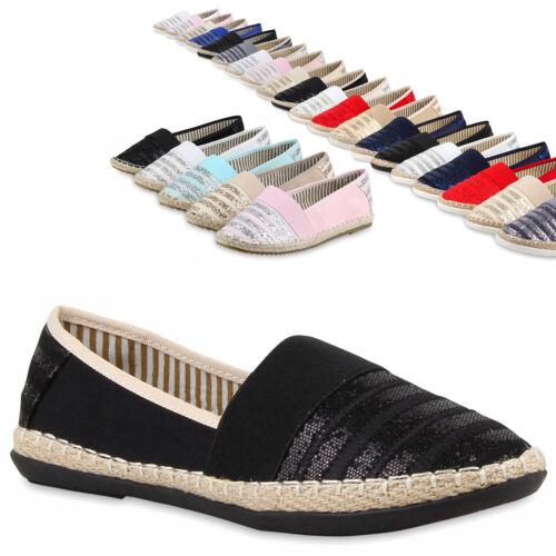 Damen Bast Espadrilles Glitzer Streifen Slipper Flats 810874 Trendy