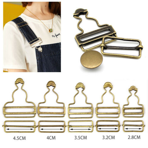 Adjust Overalls Jeans Suspenders Buckle Fastener Sewing Metal Button Clips Gourd