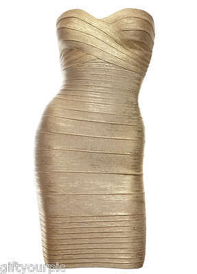 sexy clubwear dress cocktail mini evening party bandage bodycon celebrity gold