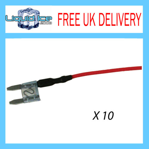X 10 MFS15A 15 AMP MINI SPUR BLADE FUSE LEAD CABLE FOR CAR VAN BUS VEHICLE