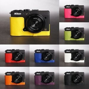 Handmade-Real-Leather-Half-Case-Camera-Case-bag-for-Nikon-Coolpix-A-10-colors