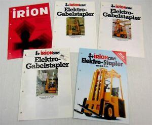 5-Prospekte-Irion-Elektro-Vierwege-Front-Quer-Gabelstapler-70er-80er-Jahre