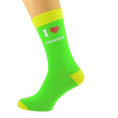 I Love Snooker Design Lime Green /& Yellow Adult UK 5-12 Socks X6N624
