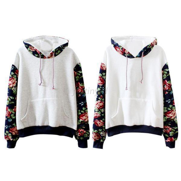 Womens Floral Long Sleeve Fleece Hoodie Sweatshirt Sweater Pullover Hooded Coat