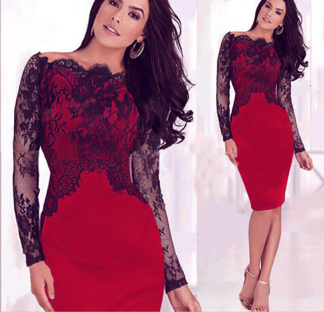 Women Celebrity Sexy Lace Cocktail Evening Party Business Bodycon Pencil Dress