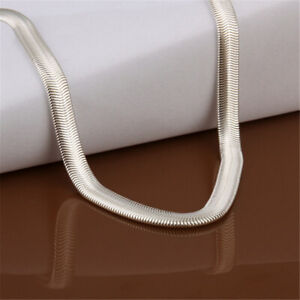 men-women-925-Silver-Solid-6mm-snake-16-24inches-chain-nice-necklace-jewelryN193
