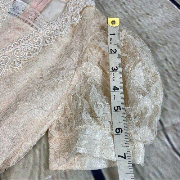 Gunne Sax girls lace dress cream shortsleeved - image 5