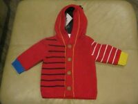 Hanna Andersson Infant Girls Cardigan With Attached Hood Size 60 (2-6 Months