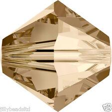 Swarovski 5328 Xilion Bicone Beads  4mm : Crystal Golden Shadow (50 beads)