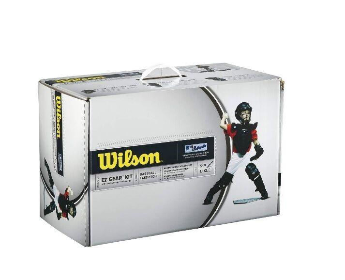 Wilson EZ Juventud Kit de engranaje pequeño mediano Azul Marino Catcher's Gear Set Nuevo en Caja 5-7 años de edad