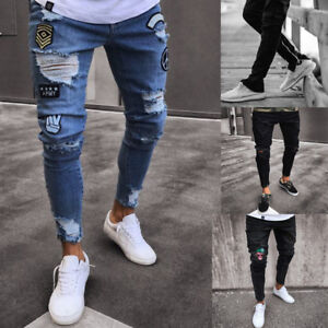 a5aa6159a Mens Skinny Jeans Rip Slim fit Stretch Denim Distress Frayed Biker ...