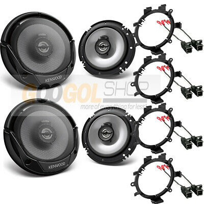 """NEW 6.5/"""" KENWOOD CAR TRUCK FRONT /& REAR DOOR SPEAKERS W// MOUNTING INSTALL KITS"""