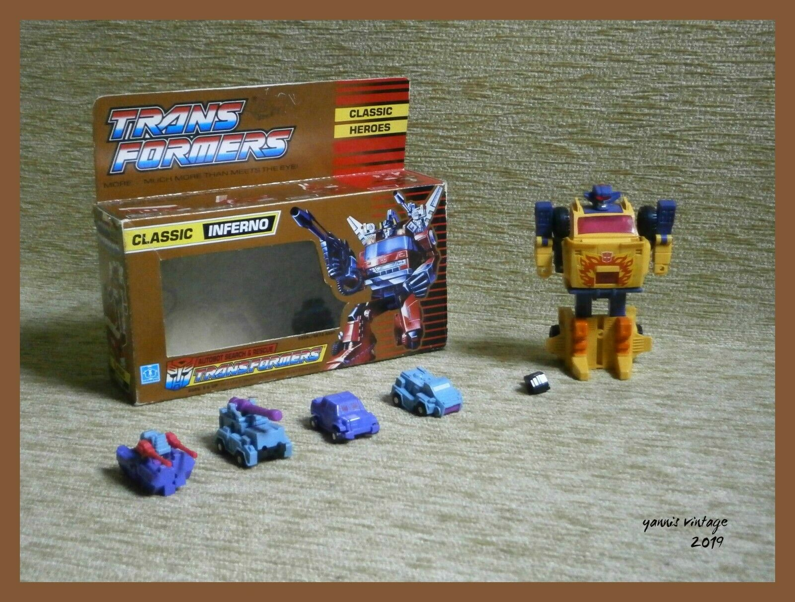 TRANSFORMERS CLASSIC INFERNO USED 1989 HASBRO + 4 MINI VEHICLES USED VTG RARE