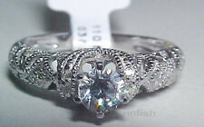 925 STUNNING STERLING SILVER ANTIQUE STYLE FILIGREE ENGAGEMENT RING SIZE 10