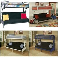 Twin Over Full Futon Bunk Bed Frame Metal Ladder Guard Rails Choose Color