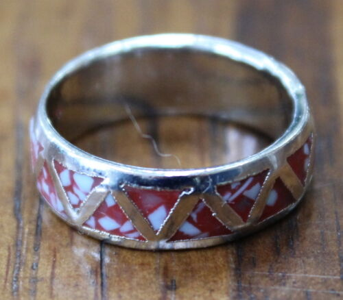 Women Finger Ring Turquoise Pink Coral Onyx Stone Silver Band Jewelry Fashion