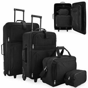 Juego-de-4-maletas-de-viaje-set-trolley-neceser-cabina-con-ruedas-negras