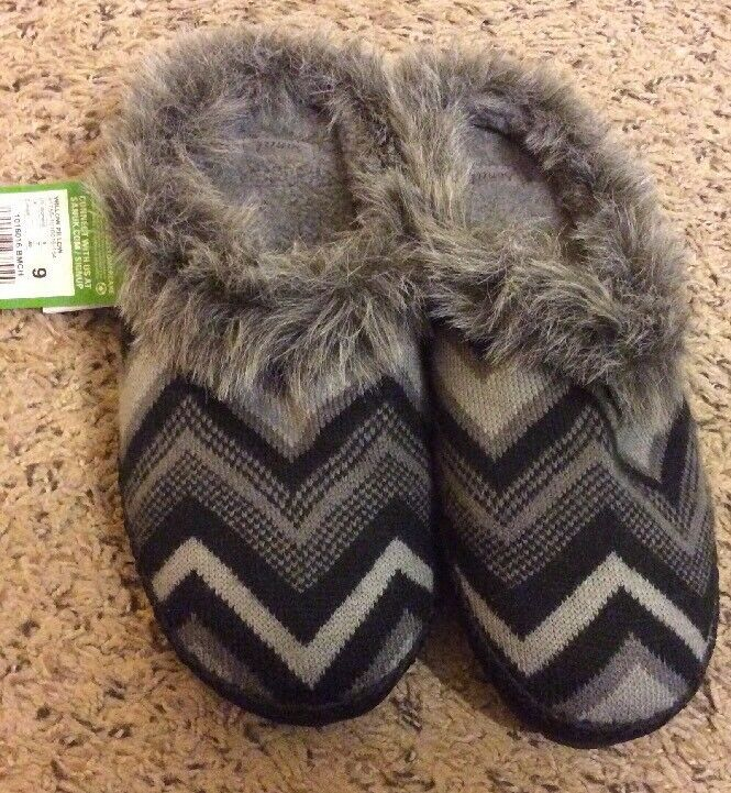 SANUK WILLOW PILLOW BLACK CHEVRON FAUX FUR SLIPPERS, WOMEN US Sz 9