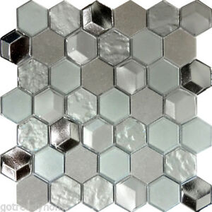 Image Is Loading Hexagon Gray Marble Metallic Silver Insert