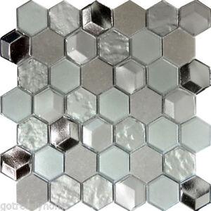 Hexagon Gray Marble Metallic Gray Silver Insert 3D Glass Mosaic Tile