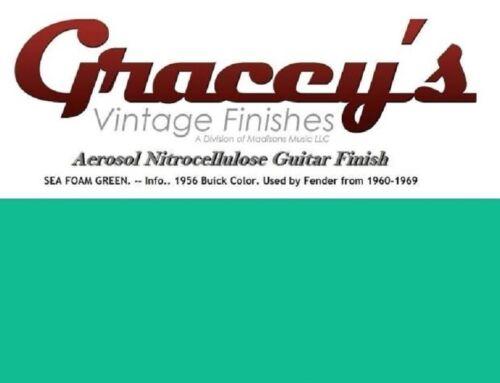 Seafoam Green Gracey/'s Vintage Finishes Nitrocellulose Guitar Lacquer Aerosol.